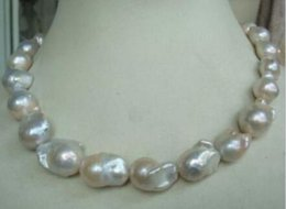 """Wholesale Australian South Sea Nuclear Pearl - """"Handmade""""HUGE 18""""15-20MM AUSTRALIAN SOUTH SEA NATURAL WHITE NUCLEAR PEARL NECKLACE"""