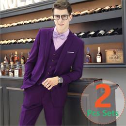 Ternos roxo claro para homens on-line-Mens paletó Light purple 2PCS set (suit + pants) tecidos de alta qualidade terno do noivo do casamento ternos de negócio para homens
