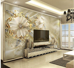 Wholesale Modern Flower Wallpaper - 3d European palace wind gold jewelry flowers TV backdrop wall mural 3d wallpaper 3d wall papers for tv backdrop