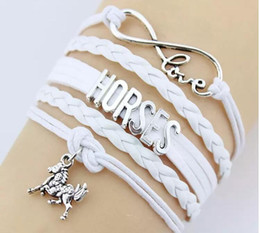 Wholesale Gift Tin Can - FREE SHIPPING Fashion Charms Leather Bracelets Horse Bangles 5 colors Infinity Horse Bracelets party dress jewelry can customed your idea