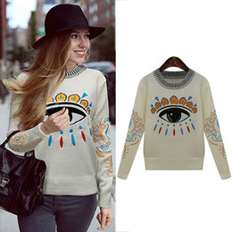 Wholesale Eyes Fashion Sweater - Wholesale-2016 autumn winter European and American style women clothing embroidery eyes O-Neck loose pullovers knitted sweaters 19L3