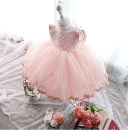 Wholesale Big White Tutu - Girl Party Dress Big Bowknot Lace Princess Dress Baby Girl Party Wedding Christmas Evening Dress 5 p l