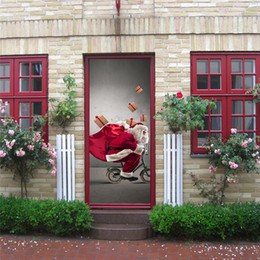 Wholesale christmas art posters - DIY 3D effect Festival Door Stickers Christmas Santa Snow Xmas Tree Waterproof Door Poster Store Home Decoration 200*77cm Sticker