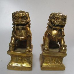 Wholesale Brass Dog Statue - Wedding Decorations Art Collection 1 Pair of Chinese Brass Carved Lucky Fu Foo Dog Statue Feng Shui Lion Sculpture