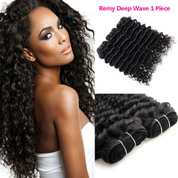 Wholesale Discount Virgin Hair Unprocessed - Cheap Brazilian Remy Hair Deep Wave Natural Color 1Piece Discount Sew in Human Hair Extensions Unprocessed Brazilian Deep Curly Virgin Hair