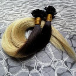 Wholesale Brazilian U Tip Hair Extensions - #1B 613 ombre hair extensions brazilian Straight human keratin remy hair u tips 100s pre bonded human hair extensions 100g