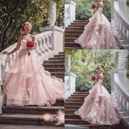 Wholesale Taffeta Train Wedding Dresses - 2017 Blush Pink Garden Wedding Dresses with Ribbon 2016 Sweetheart Beads Ruffles Skirt Princess Bohemian Bridal Dresses with Sweep Train