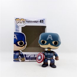 Wholesale Vinyl Figures Pop - Demishop Funko POP Official Vinyl Action Figure Marvel Movie Avengers Captain America #41 Collectible Toy with Original Box