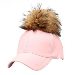 Wholesale Grey Fur Raccoon - Wholesale- women Raccoon fur ball PU hip-hop hat PU Leater boy girl caps Raccoon Fur Ball Hip Hop female Fashion Casual Baseball Cap gorras