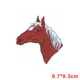 Wholesale Horse Machine - Iron On Embroidered Applique Patch red Horse Head Facing Left Equestrian