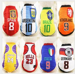 Wholesale Halloween Clothing Shirts - Newest Cat Dog Shirt World Cup Soccer Jersey Pet Vest Football National Team Sports Wear Sports Clothes for Dogs Breathable XS-6XL