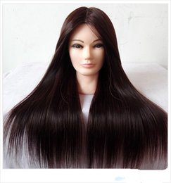 Wholesale Cosmetology Doll Heads - Brown Hair Styling Mannequins Cosmetology Mannequin Head For Wig ,Hairdressing Training Doll Heads Manikin Makeup Practice Head
