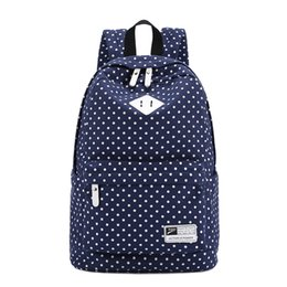 Wholesale Canvas Dots Backpacks For Girls - Wholesale- 2016 Brand Korean Canvas Dotted Printing Backpack Women Backpacks for Teenage Girls Vintage Stylish Ladies Bag Backpack Female