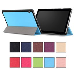"Wholesale Huawei Tablet Accessories - Tablet PC Pad Cases Auto Sleep Wake Skin Magnetic Folding Kickstand For HuaWei MediaPad T123 M3 8.0"" 10.0"" 10 Solid Colors"
