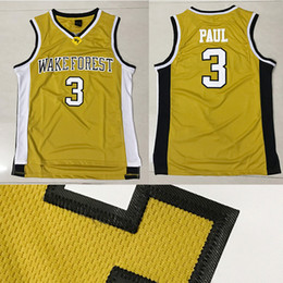 Wholesale Cheap Sports Shorts - Top quality WFU 3 Chris Paul Basketball Jersey Men Sports wear embroidered Logos Cheap sports shirts