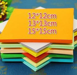 Wholesale Origami Handmade - 300pcs 12*12cm 13*13cm 15*15cm 10 colors Origami Paper Double Face Handmade Folding Paper for Craft Punch Craft Paper Tools Christmas Gift