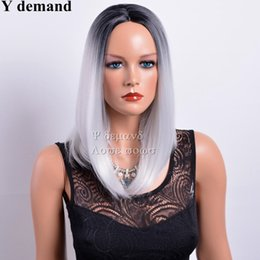 Wholesale Wig Gray Short - None Lace Full Wig Ombre Black & Gray 12 inch Straight Short Bob Synthetic Heat Resistant Hair Wigs Fashion Popular Y demand