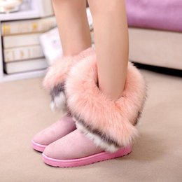 Wholesale High Boots Fox Fur - Wholesale- 2016 NEW fashion Women Boots Genuine Leather Real Fox Fur Womens Winter Black Boots Tassel Boot Womens Booties snow boots F303