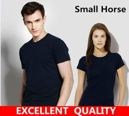 Wholesale High Collar Men - T-Shirt Men Black T Shirt High quality Small Horse Embroidery Round collar Men Fashion men T Shirts Casual brand Clothing Cotton 3D Tshirt