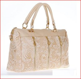 Wholesale Trendy Touch - Retro Lace Handbag 3 colors Fashion Women's Lady Faux Leather Tote Crossbody Shoulder Bag Trendy lace sides soft and smooth touch bag005