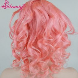 Wholesale Long Rose Pink Wig - lili Women's Fashion Rose Pink Long Hair Body Wave Wigs Curly Hair Cosplay Dress Full lace Wigs
