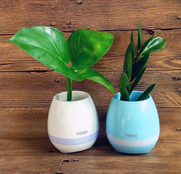 Wholesale Wholesale Flower Pots China - New Plant potted plants Music Flower Pot Speaker Smart Wireless Bluetooth Speaker Touch Play Piano With Colorful Light