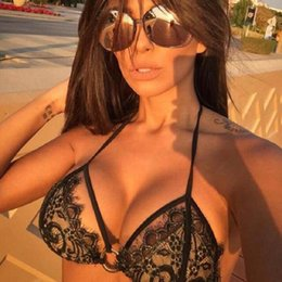 Wholesale two piece black swimsuit - Wholesale 2017 Summer Sexy Black Bandage Lace Crochet Bikini Sets Push Up Women Girl Swimsuit Bathing Suits Triangle Biquini Free Shipping