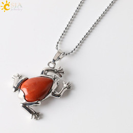 Wholesale Toad Charms - CSJA Natural Stone Statement Pendant Necklace Lucky Frog Fortune Toad Dangle Animal Choker Charm Trendy Men Women Reiki Jewellery E240 B