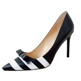 Wholesale Women Shoes Dress Bow - 2017 ZK shoes new arrival contrast color elegance women high heels pumps dress shoes with BOW-TIE size US4~12.5