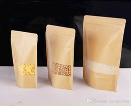 Wholesale Kraft Candy Bag - nice quality Moisture-proof Bags,Kraft Paper with three layer Stand UP Pouch, Ziplock Packaging Bag for Snack Candy Cookie free shipping