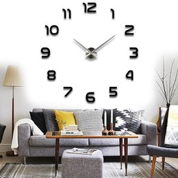 Wholesale Diy Antique - Wholesale-Modern Wall Sticker DIY Large Wall Clock 3D Mirror Surface Sticker Home Office Decor Decal