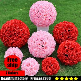 Wholesale Silk Rose Flower Yellow - Elegant White Artificial Rose Silk Flower Ball Hanging Kissing Balls 15CM~60CM 6Inch~24Inch rose Ball For Wedding Party Decoration F03-03