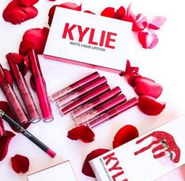Wholesale High Heel Apricot - 2017 Kylie valentine gift on valentine's day 's collection mini lit matte liquid lipsticks high quality 6pcs=1set Apricot Head over heels