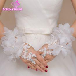 Wholesale Wedding Ivory Lace Gloves - Beaded 3D Flowers Lace Short Wrist Bridal Gloves Fingerless Wedding Gloves 2017 Hot Sale White Wedding Accessories Bride Gloves