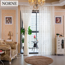 Wholesale Voile Lace Curtains - NORNE Window European style Drapes for Bedroom Living Room Kitchen Door Blinds Semi Royal court Lace Tulle Voile Sheer Curtains Panel