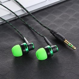 Wholesale Earplugs Mic - Hot MP3 mp4 Wiring Subwoofer Headset Ear Braided Rope Wire Cloth Rope Earplug Noise Isolating Earphone Built-in Mic Handfree LH9