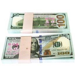 Wholesale Poker Props - 100pcs set USA Dollars New $100 Training Banknote Learning Paper Money Poker Game Chips Home Decoration Art Gift Souvenir Movie Props Money