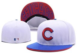 Wholesale Top Flat Brim Hats - 2017 hot! Wholesale-Top Quality Chicago Cubs Blue Color C logo baseball fitted hats cheap wholesale price sport brand flat brim closed caps