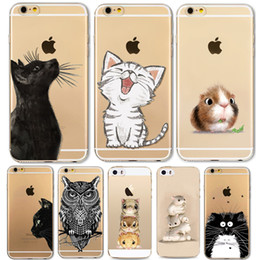 Wholesale iphone cases silicon animals - Phone Case For Apple iPhone 6 6S 6Plus 6s Plus 4 4S 5 5S SE Soft TPU Silicon Transparent Cover Cute Cat Owl Animal Phone Cases