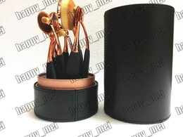 Wholesale Cup Holder Case - Factory Direct DHL Free Shipping New Makeup Brushes Rose Gold Oval 10 Pieces Brush With Black Cup Holder Case!