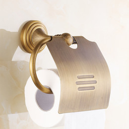Wholesale Full Bathrooms - European Full Copper Toilet Paper Holder Classic Retro Roll Paper Towel Box Antique Brass Bathroom Accessories