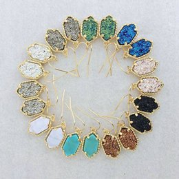 Wholesale Wholesale Druzy Earrings - Gold Kendra Style Earrings Sets Geometric Natural Druzy Dangle Earrings Luxury Designer Earrings For Women Party Jewelry