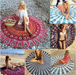 Wholesale Fashion Hippies - 26 Styles Retro Printed Tapestry Hippy Boho Beach Towel Wraps Picnic Yoga Mat Serviette Covers 150cm