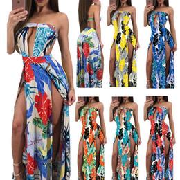 Wholesale Romper Maxi - Offer Shoulder Double Side Split Maxi Dresses for Women High Slit Beach Dress Romper   6 Color S-XXL   Wholesale Cheap DHL Fast Shipping