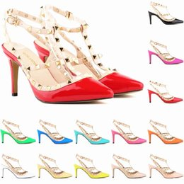 Wholesale Dresses For Office Girls - Fashion Dress Shoes for Womans Lady's Sexy Rivet High Heel Shoe Womens Party shoes Girls Wedding shoe Brand Pumps for Beauty ladies FS004