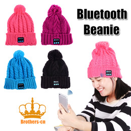 Wholesale Black Magic Speakers - Hands-free Music Mp3 Speaker Mic Cap Magic Sport Hats with Bluetooth Beanie Knitted Winter Hat headset for girl & Girl & Adults