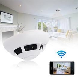Wholesale Ufo Wifi Camera - WiFi network UFO Smoke Detector Camera HD 720p Smoke Detector P2P IP Camera Digital voice video recorder Home Office Security Cameras