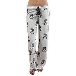 Wholesale Lower Pajama - 2017 Women Pants Casual Low Waist Flare Wide Leg Long Pants Palazzo Trousers 2227 Skull printed pajama pants at home