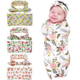 Wholesale Checked Bedding Sets - 2017 Newborn Swaddle Blanket with Rabbit Ears Headbands Baby Girls Floral Pattern Bedding Toweling Sleep Blanket Headband Set 0-3M
