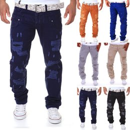 Wholesale Wholesaler Branded Jeans - Wholesale- 6 color 2016 New Famous Brand Vintage Men designer Casual Hole Ripped Jeans Mens Fashion Skinny Denim Cargo Pants Hip-hop Male